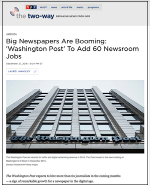 Photo of Washington Post daily newspaper building, Kevin Slimp's column