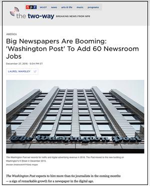 Photo of Washington Post daily newspaper building, Kevin Slimp's column