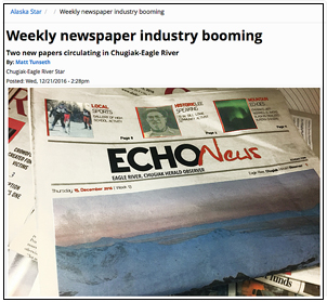 Photo of Echo News, weekly newspaper, Kevin Slimp's column